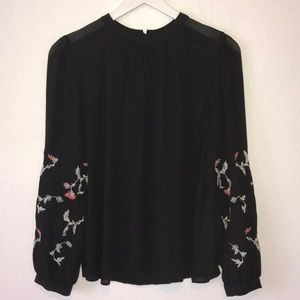 LOFT✨Embroidered Long Sleeve Blouse
